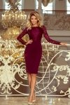 Elegancka ołówkowa sukienka z koronką Emma - Bordowa - numoco 216-3