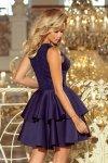 Ekskluzywna sukienka z koronkowym dekoltem i pianką Alexis - Granatowa - numoco 207-2