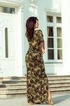 Maxi sukienka sportowa z rozcięciem - okrągłe Liście - Khaki - numoco 220-2