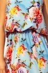 Sukienka MAXI wiązana na szyi z rozcięciem - KWIATY na błękitnym tle - numoco 191-5