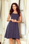 Sukienka z dekoltem w karo Stella - Granatowa w Grochy - numoco 241-1