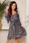 Zwiewna sukienka z dekoltem MARINA - ZIELONA W KWIATY