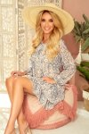 HANNAH szyfonowa sukienka z dekoltem na plecach - beżowo-niebieska-1