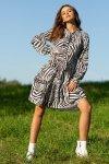 Sukienka z printem F1096 - Zebra - 2