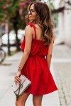 Sukienka ANDI z wiązaniami na ramionach - Czerwona_2