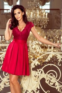 Sukienka z dekoltem i koronką Anna - Bordowa - numoco 242-2