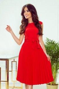 Lila Plisowana sukienka z krótkim rękawkiem - CZERWONA
