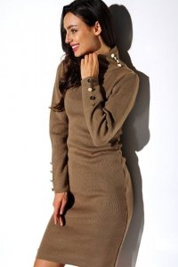 Sukienka swetrowa z guziczkami i golfem - StreetStyle LS271