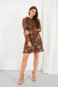 Szyfonowa sukienka z jedwabiem i żabotem wzór - StreetStyle LG518