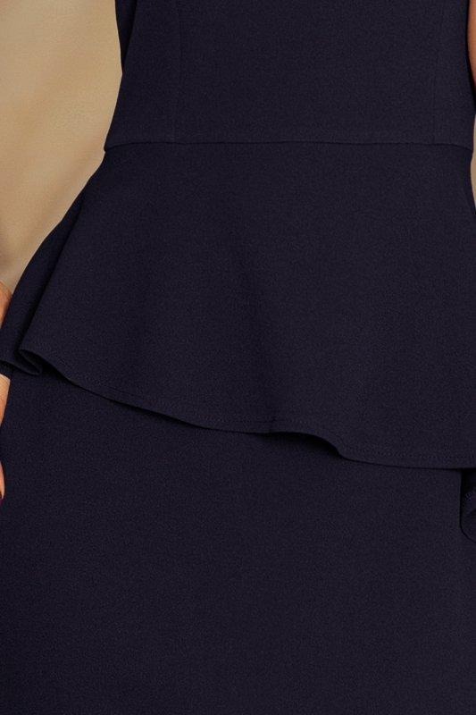 Elegancka sukienka MIDI z baskinką - Granatowa - numoco 192-4