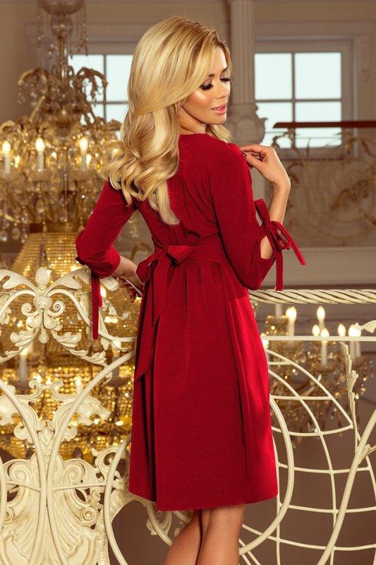 Sukienka z kokardkami Alice - Bordowa - numoco 195-3