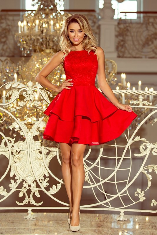 Podwójnie rozkloszowana sukienka z koronkową górą Laura - Czerwona - numoco  205-1