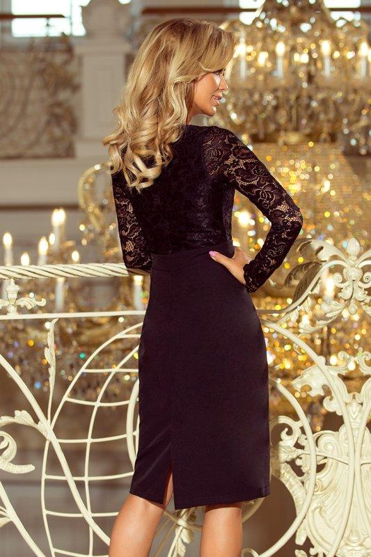 Elegancka ołówkowa sukienka z koronką Emma - Czarna - numoco 216-2