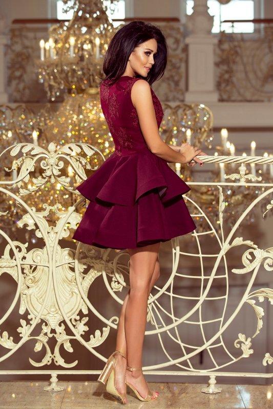 Ekskluzywna sukienka z koronkowym dekoltem Charlotte - Bordowa - numoco 200-8