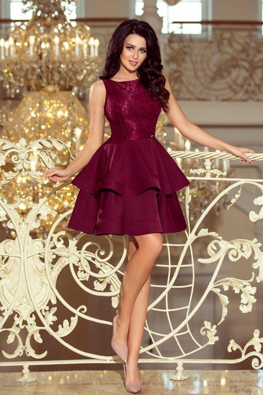 Podwójnie rozkloszowana sukienka z koronkową górą Laura - Bordowa - numoco 205-2