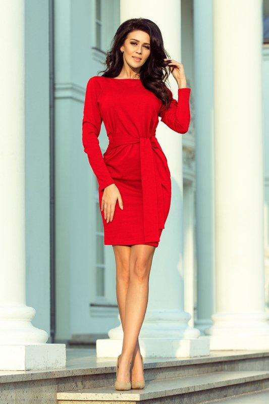 Sukienka z szerokim wiązanym Paskiem  - Czerwona  - numoco 209-6