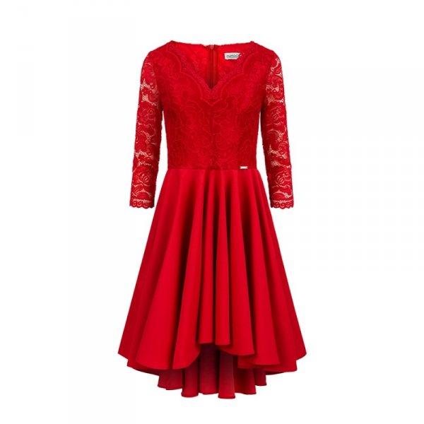 Sukienka z dłuższym tyłem z koronkowym dekoltem Nicolle - Czerwona - numoco 210-6