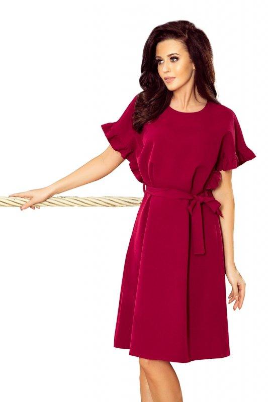 Sukienka z wiązaniem i falbankami na rękawkach Rose - Bordowa - numoco 229-2