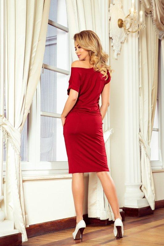 Sukienka sportowa z Krótkim  rękawkiem - Bordowa - numoco 139-5