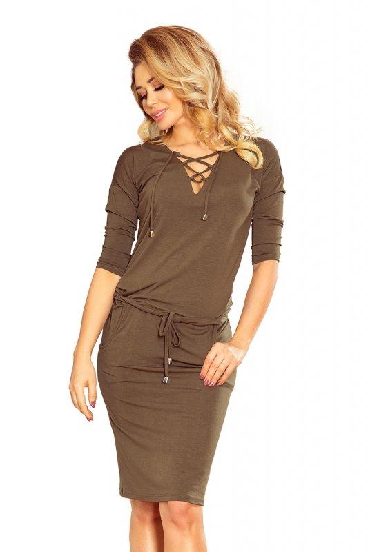 Sukienka z wiązanym dekoltem Janet - Khaki - numoco 230-3