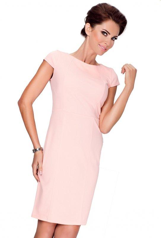 Elegancka sukienka z krótkim rękawkiem - Brzoskwinia - numoco - 37-1