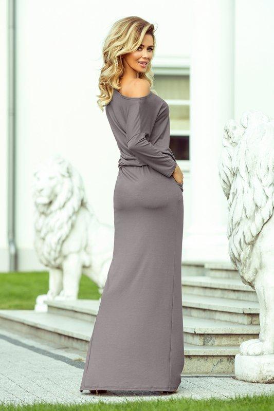 Maxi sukienka sportowa z rozcięciem - Szara - numoco 220-6