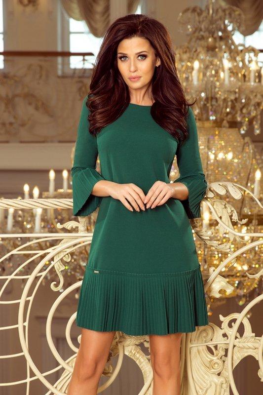Plisowana wygodna sukienka Lucy - Zieleń Butelkowa - numoca 228-2