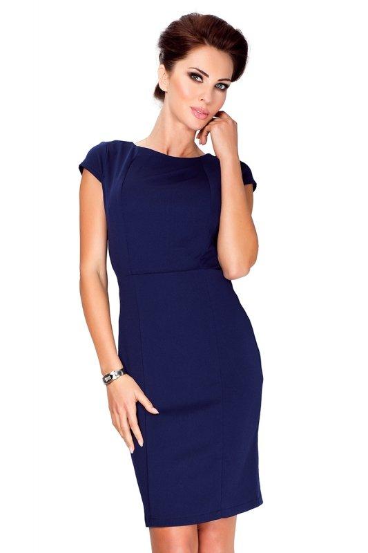 Elegancka sukienka z krótkim rękawkiem - Granatowa - numoco 37-2