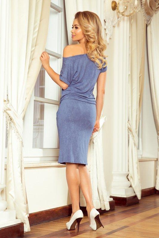 Sukienka sportowa z Krótkim rękawkiem - Jeans Jasny Niebieski - numoco 139-6