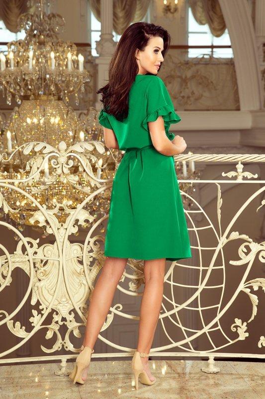 229-3 ROSE Sukienka z wiązaniem i falbankami na rękawkach - ZIELONA