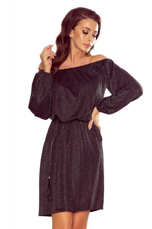 Sukienka z paskiem Dina - Czarna - numoco 270-2