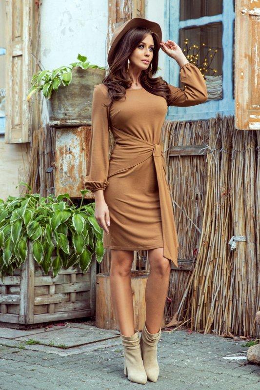 Wygodna sukienka z wiązaniem w pasie Jenny - Karmelowa - numoco 275-1