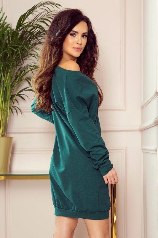 Luźna dresowa sukienka oversize - Zieleń Butelkowa - numoco 293-1