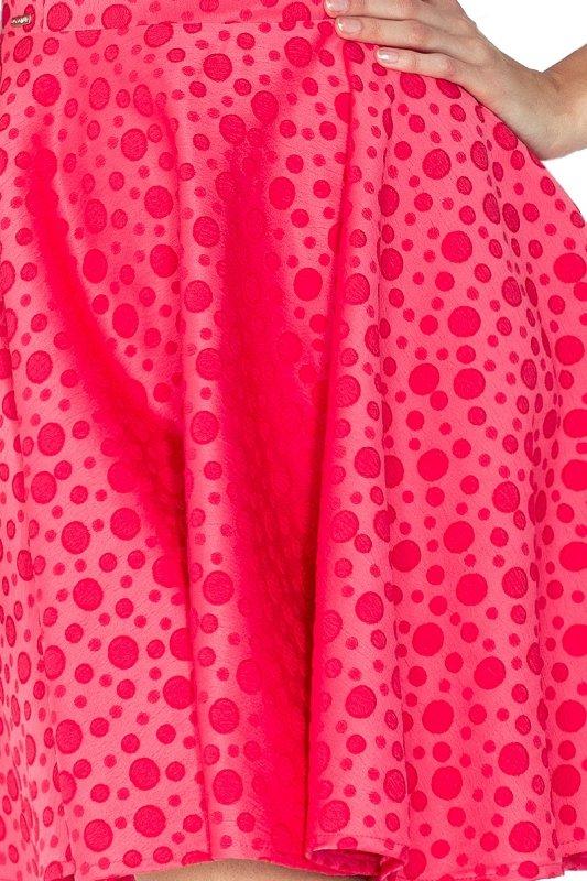 125-13 Sukienka KOŁO - dekolt łódka - ŻAKARD KÓŁECZKA - MALINA