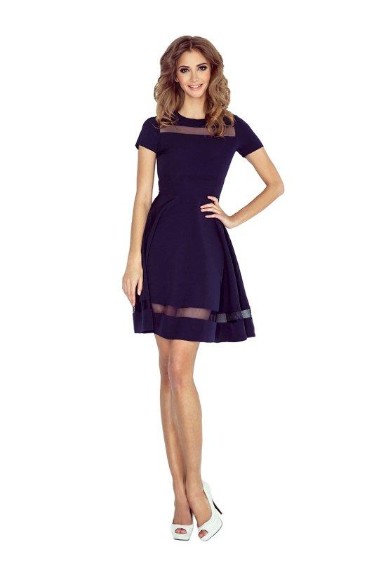 MM 003-2 Sukienka midi z tiulowymi pasami - granatowa