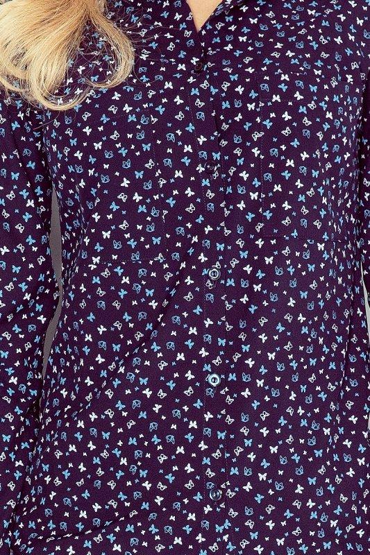 Koszula z kieszonkami w niebieskie motylki - Granat - numoco MM 018-3