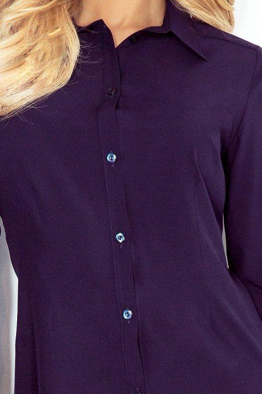 Prosta koszula z guzikami  - Granatowa - numoco MM 017-3