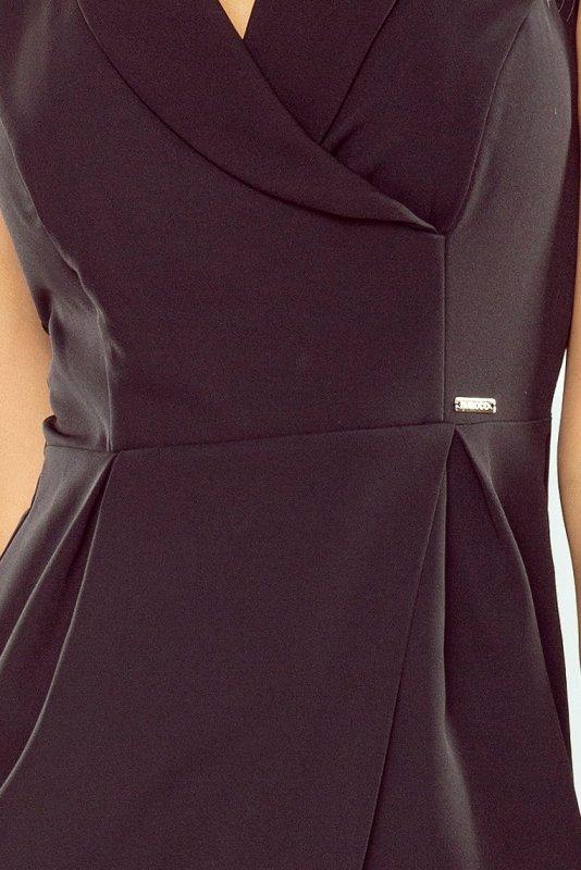 Sukienka z szerokim kołnierzem - Czarna - numoco 153-4