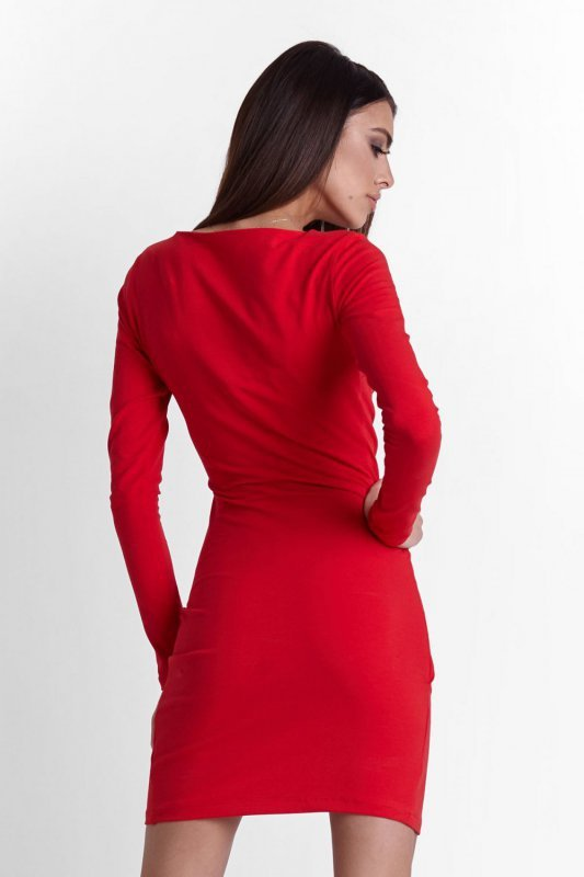 Drapowana sukienka Nela - Czerwona - Ivon
