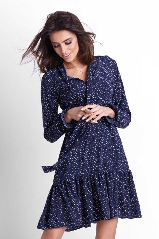 Sukienka w kropeczki Inga - Granat - StreetStyle 517