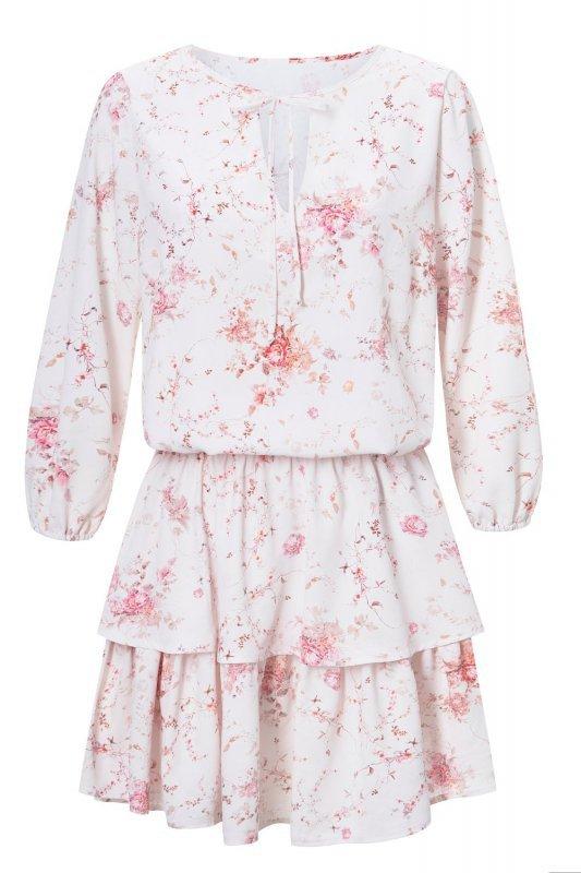 Sukienka  Chloe kwiatowy wzór - Biała - Streetstyle 726