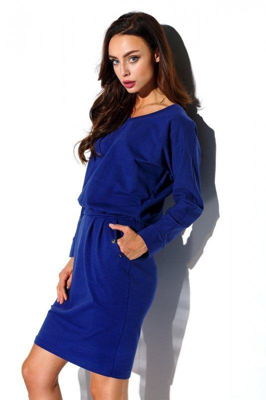 Dresowa sukienka z długim rękawem i kieszeniami StreetStyle L322