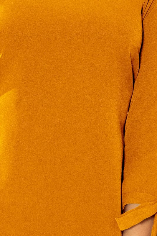 Sukienka z kokardkami Alicja - Musztarda