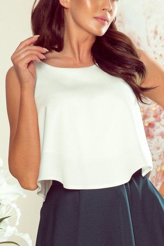 Rozkloszowana szeroka bluzka - Ecru - numoco 267-3