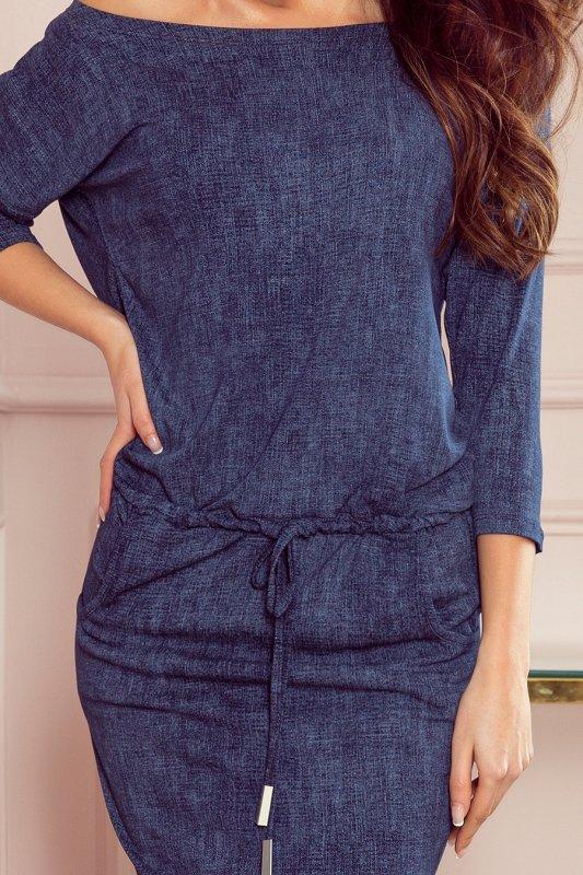 Sukienka sportowa z kieszonkami - jeans granatowy - 5