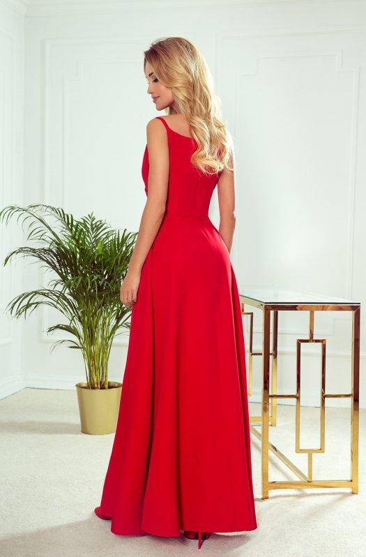 CHIARA elegancka maxi suknia na ramiączkach - CZERWONA  - 2