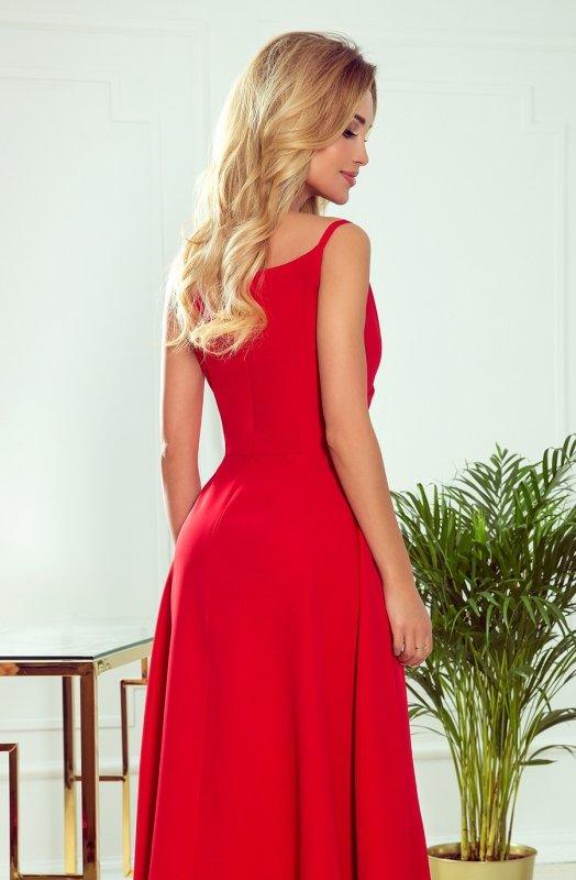CHIARA elegancka maxi suknia na ramiączkach - CZERWONA  - 4