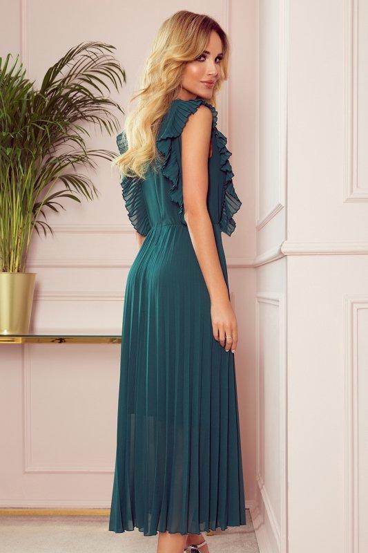 EMILY Plisowana sukienka z falbankami i dekoltem - BUTELKOWA ZIELEŃ - 4