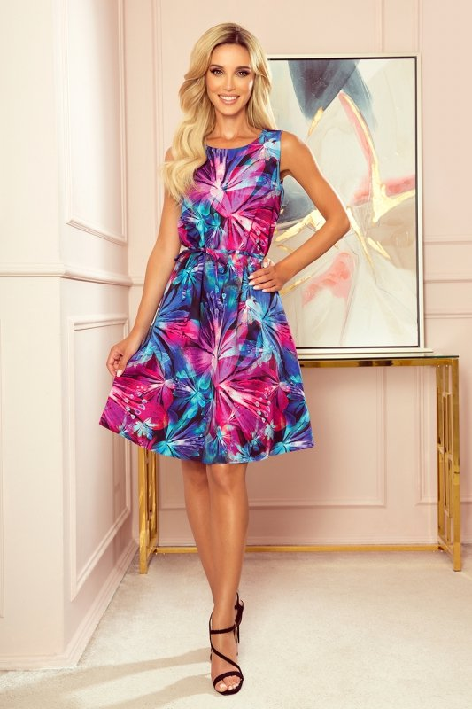 VICTORIA Trapezowa sukienka w niebiesko-różowe kwiaty