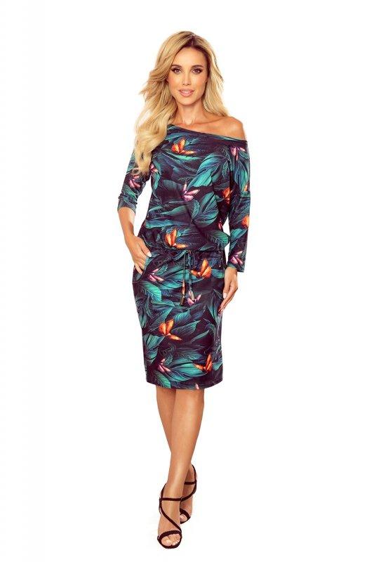 Sukienka sportowa z kieszonkami - kolorowe MOTYLE -7